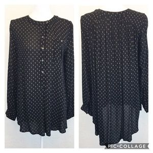 Free People   Black Button Down Lagenlook Blouse